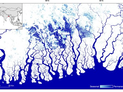 Surface water seasonality between October 2014 and October 2015 in the Sundarbans in Bangladesh. Dark blue indicates permanent surface water; light blue indicates seasonal surface water.