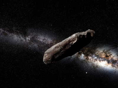 An artist's impression of 'Oumuamua, first spotted in 2017.