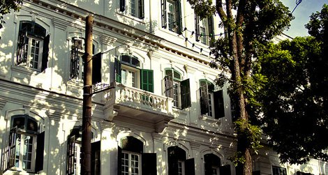 The Hotel Metropole, opened in 1901, reflects the French colonial era in Vietnam.