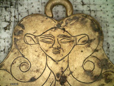 Recent excavations in the ancient Greek city of Pylos revealed a gold pendant featuring the likeness of Hathor, an Egyptian goddess who was a protector of the dead.