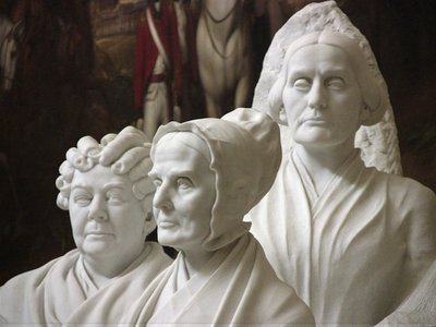 The statue carved by Adelaide Johnson portrays Elizabeth Cady Stanton, Lucretia Mott and Susan B. Anthony (left to right), all women who fought for suffrage.