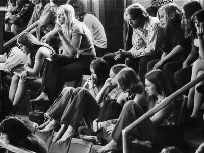 Observers in the galleries of a legislative hearing about a marijuana bill in May 1973