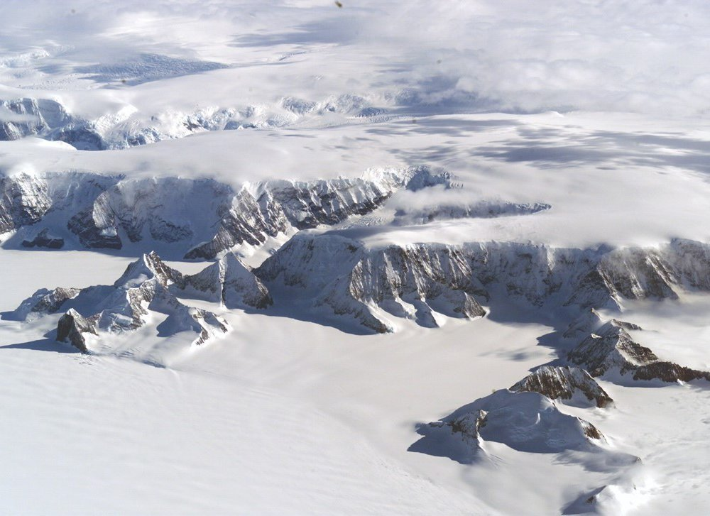Rising atmospheric carbon dioxide is causing global warming. This means glaciers in Antarctica are melting. Those same glaciers were originally made when carbon dioxide dropped 34 million years ago. (NASA/Jim Ross)
