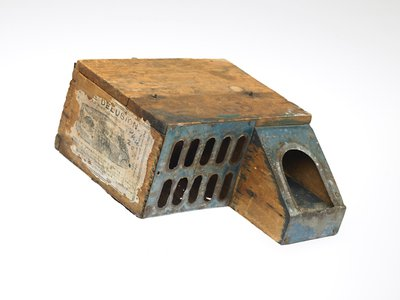 """An 1877 mousetrap called """"The Delusion."""" Directions read """"Put as large a piece of cheese you can crowd into the box…"""""""