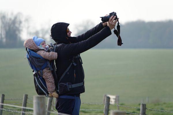 Dad and baby at Stonehenge thumbnail