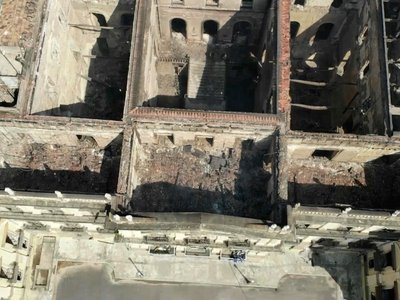 The National Museum, seen from above, after the overnight fire in Rio de Janeiro, Brazil.