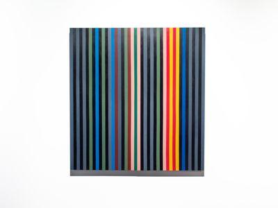 "Artist Johanna Barron's recreation of a Gene Davis painting called ""Black Rhythm"" that belongs to the CIA's art collection."
