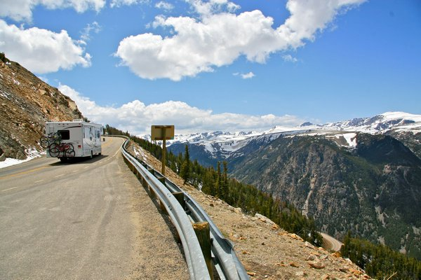 A camper traversing the Beartooth Parkway in Montana. thumbnail