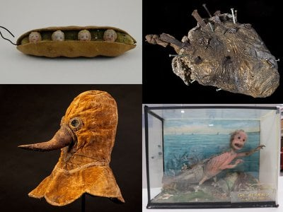 """Submissions included a plague mask, a Feejee """"mermaid"""" and a peapod pincushion."""