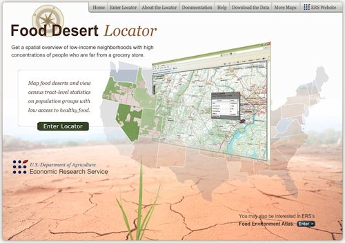 Screenshot of the Food Desert Locator home page