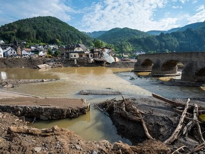 A town along the Ahr river was damaged following intense flooding.