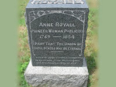 Anne Royall's headstone at Washington D.C.'s Congressional Cemetery.