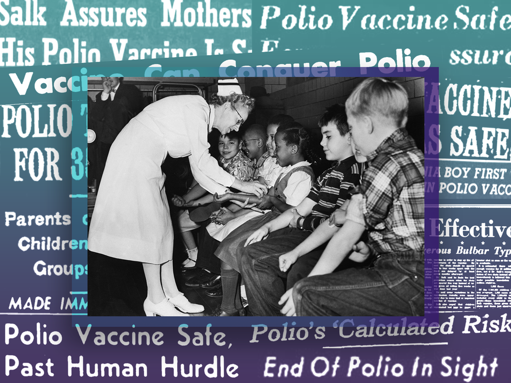 Nurse giving children polio shots in front of collage of headlines about the vaccine