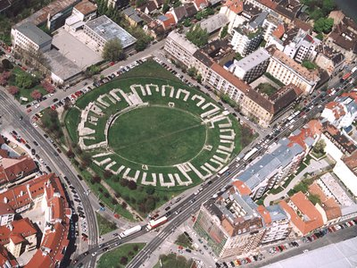 Aerial view of an amphitheater in Budapest, Hungary