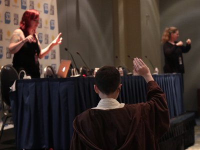 A young padawan asks astrophysicist Erin Macdonald a question at a Future Con panel. This year, Smithsonian's Future Con took place as a special programming track within Awesome Con, leading to a number of serendipitous moments like this.