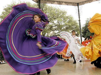 Dancers perform during a Cinco de Mayo celebration in Los Angeles.
