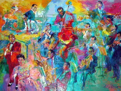 Depicted in Big Band are: Billie Holiday, Louis Armstrong, Ella Fitzgerald, Lionel Hampton, Duke Ellington, Benny Goodman, Jerry Mulligan, Charlie Parker, John Coltrane, Lester Young, Glen Miller, Charles Mingus, JJ Johnson, Miles Davis, Dizzy Gillespie, Wynton Marsalis and Gene Krupa.