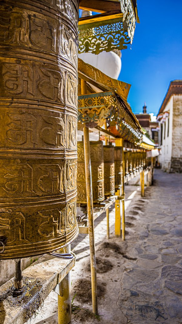 Prayer Wheels at The Panchen Lama's Summer Palace, Shigatse Tibet thumbnail