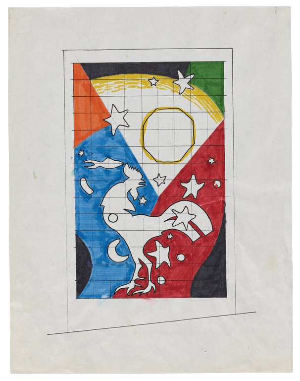 Multi-colored schematic drawing for East is West sculpture