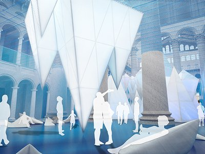 """A schematic design of the upcoming """"Icebergs"""" installation for the National Building Museum"""