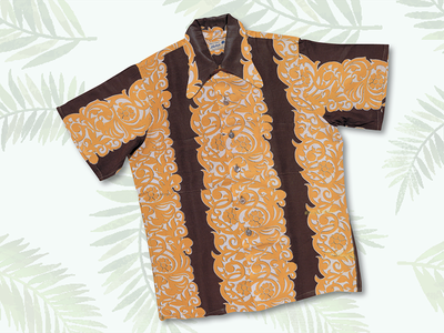 One of designer Ellery Chung's famous King-Smith shirts, featuring a Tahitian print.