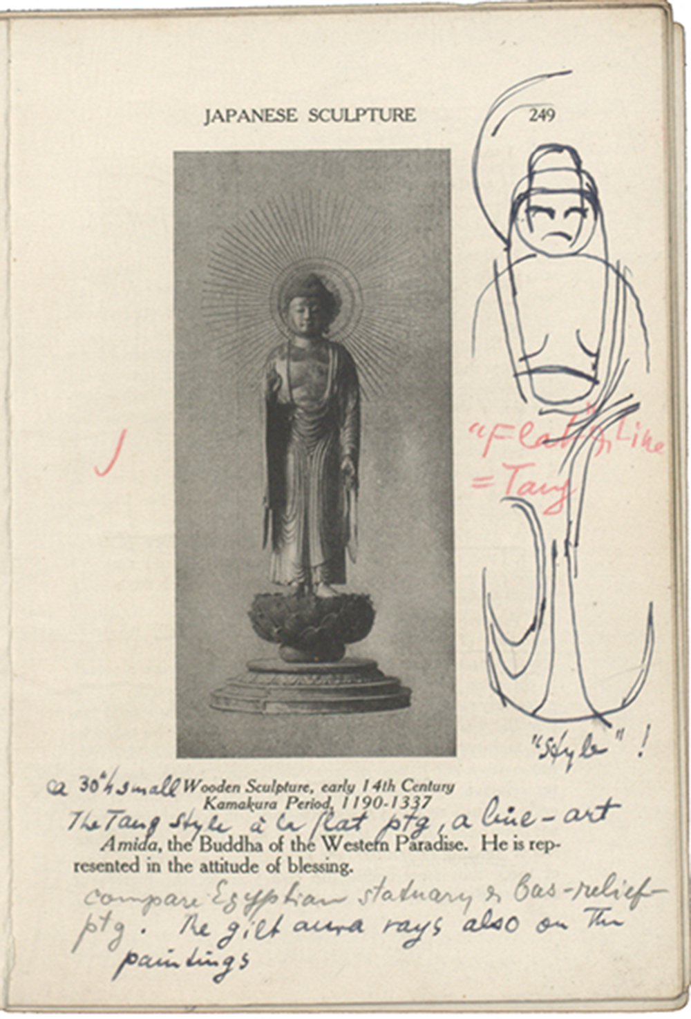 Printed book page with image of Amida buddha and ink sketch of buddha in the margin and notes in pencil, ink, and red wax pencil.