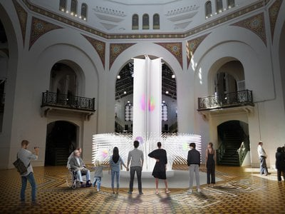 Reddy's two-story installation weaves human wisdom and intelligent technology together, forming a shimmering monument reflective of visitors' collective visions of the future.