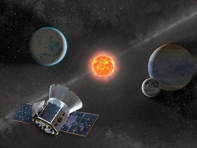 Illustration of NASA's Transiting Exoplanet Survey Satellite (TESS) observing an M dwarf star with orbiting planets.