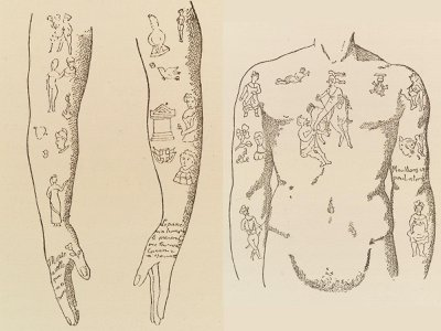 Researchers analyzed 75,688 convict tattoos cataloged in the Digital Panopticon database.