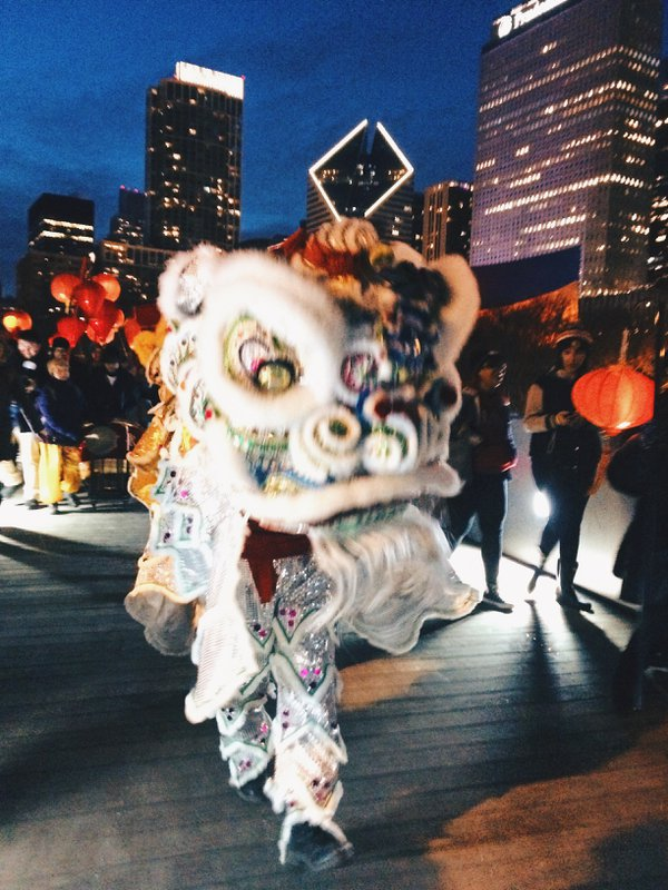 Lion dance from Millennium Park to Maggie Daley Park in Chicago. thumbnail