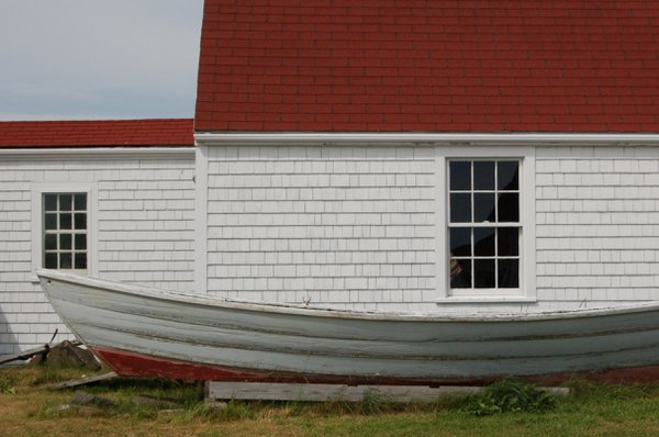 old dory at Monhegan Island museum, Maine thumbnail