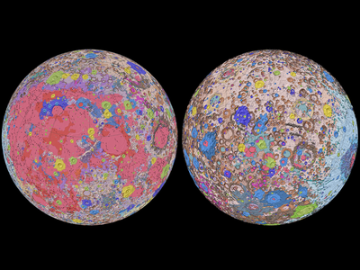The Unified Geologic Map of the Moon, showing the geology of the Moon's near side (left) and far side (right).