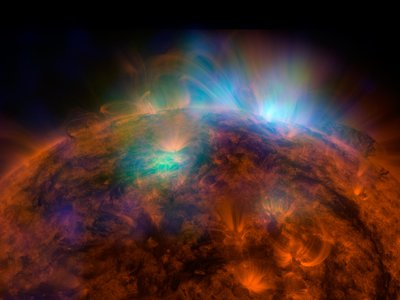 This image, created by a telescope called NuSTAR, is the most detailed of the sun using high-energy rays to date, according to NASA.
