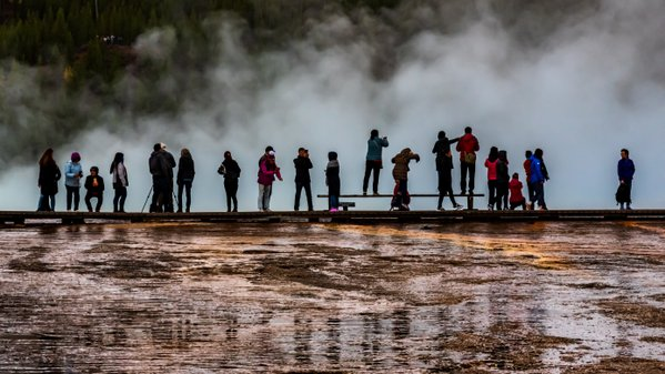 Tourists at the Grand Prismatic Spring thumbnail