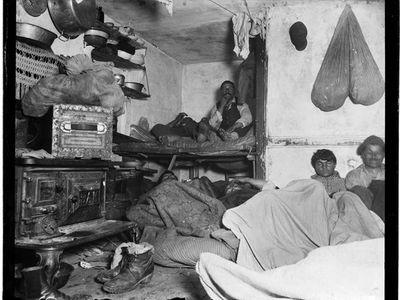 Lodgers in a crowded Bayard Street tenement, 1889.