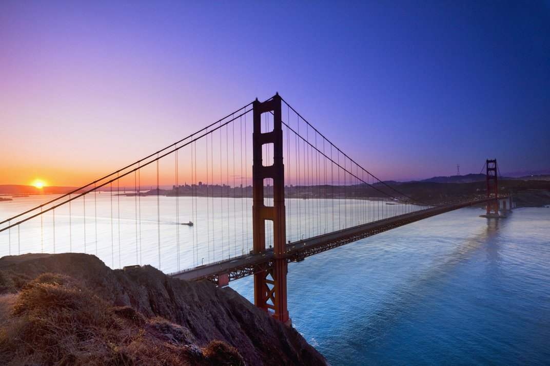 View of the Golden Gate Bridge at dawn from the Marin Headlands, Golden Gate National Recreation Area. (Pietro Canali/SOPA/Corbis)