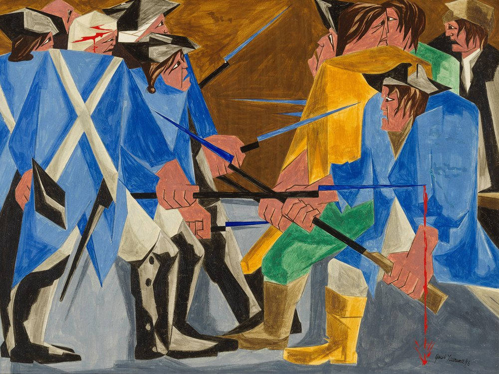 An angular, vibrantly colored painting of men in bright blue coats pointing long spiky bayonets at one another; on the right, the men wear a jumble of colors, while on the left the men wear blue and white uniforms