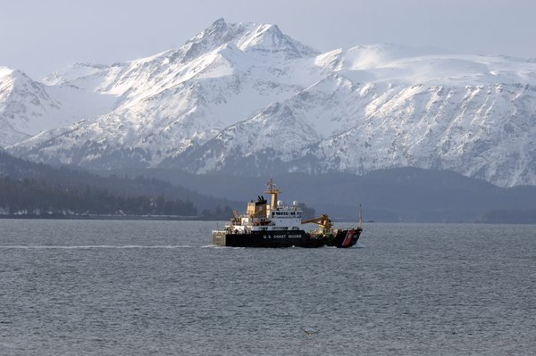 """U.S. Coast Guard Buoy Tender """"the Hickory"""" steaming out into the Cook Inlet. thumbnail"""