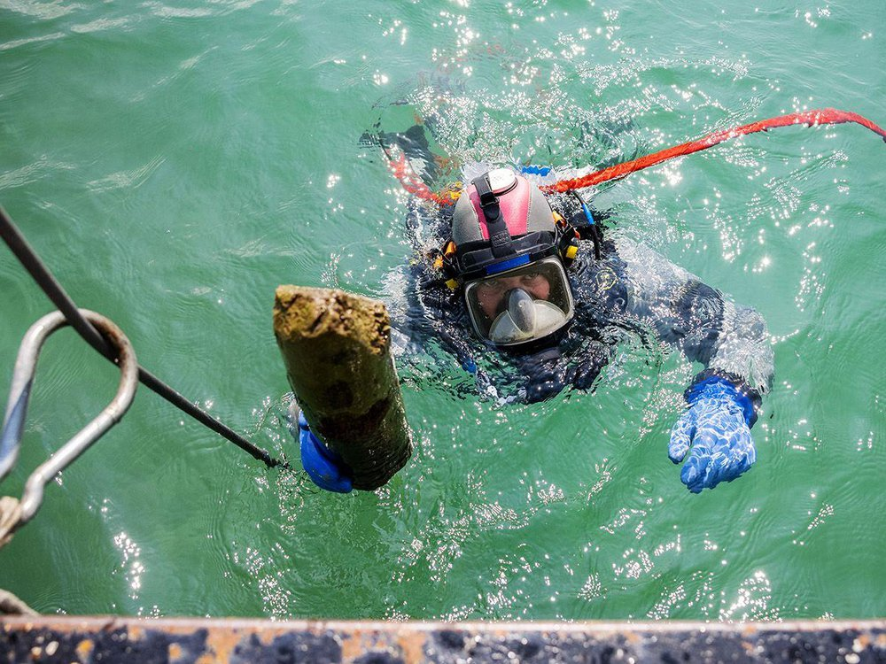 Diver holds up prehistoric wooden post