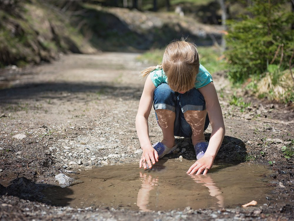 puddle and girl
