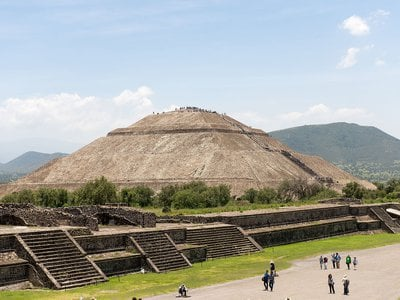 Researchers estimate that ancient builders used roughly226,085,379 square feetof rock, dirtand adobe to construct the three main pyramid complexes in Teotihuacán's city center. Pictured here isthe Pyramid of the Sun.