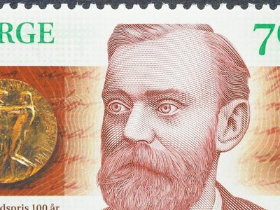 A postage stamp printed in Norway showing an image of Alfred Nobel, circa 2001.