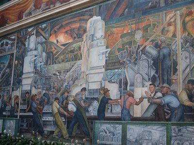 One of Diego Rivera's Detroit Industry Murals at the Detroit Institute of Arts. The murals can be explored in detail in Google's new digital collection.