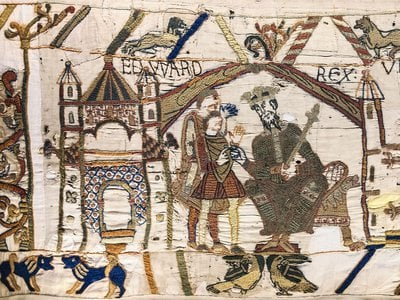Scene from the Bayeux Tapestry, which famously depicts William the Conqueror's victory over the so-called Anglo-Saxons