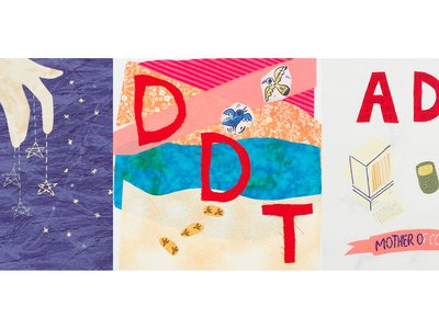 Courtney Gallaher's Women in Science students at Northern Illinois University created quilt blocks representing astrophysicist Margaret J. Geller, biologist Rachel Carson, and mathematician Ada Lovelace.