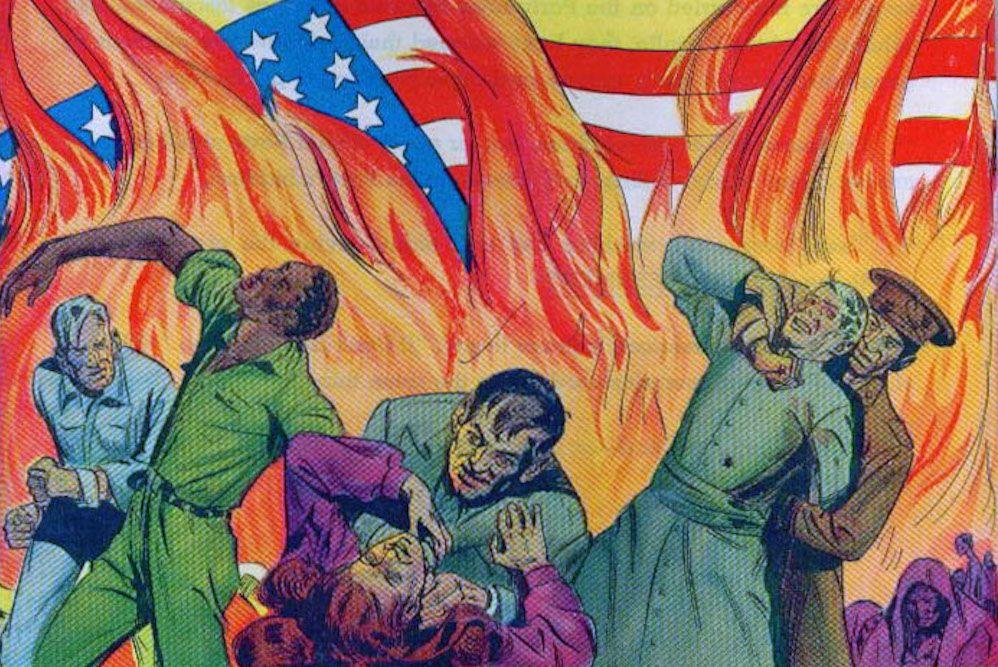 Cover of a propaganda comic book