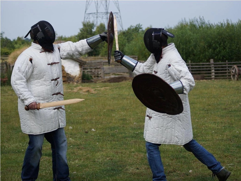 Scientists stage a sword fight