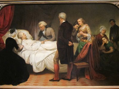 An illustration of Washington's imagined deathbed scene, painted about 50 years after his death.