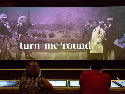The lunch counter interactive at the National Museum of African American History and Culture explores key moments in the struggle for Civil Rights.