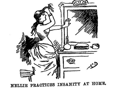 Illustration from Nellie Bly's 1887 book Ten Days in a Mad-House, depicting her practicing feigning insanity. Bly's work was originally published as a 17-part series of articles for the New York World.